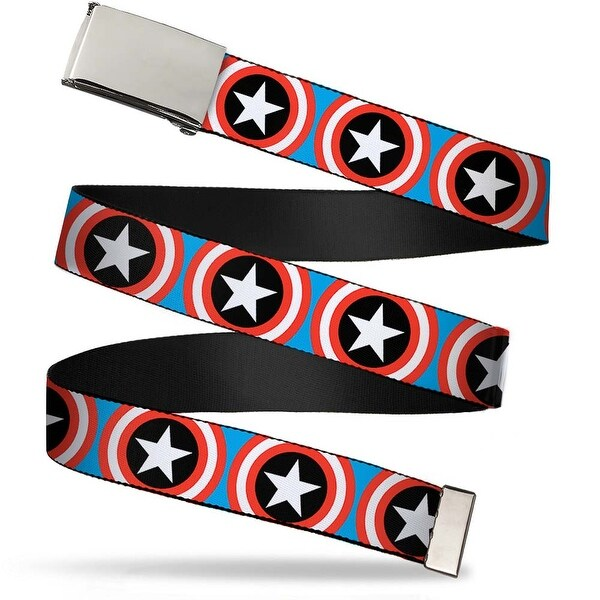 Marvel Comics Blank Chrome Buckle Captain America Shield Repeat Blue Web Belt