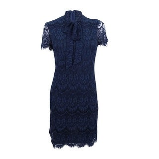 Betsey Johnson Women's Lace Tie-Neck Shift Dress (2, Navy) - Navy - 2