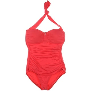 Tommy Bahama Womens Shirred Halter One-Piece Swimsuit - 6