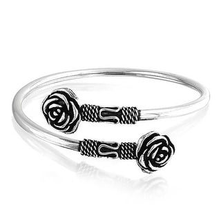 Bling Jewelry Rose Bali Style Rope Style Oxidized Cuff Bracelet 925 Silver