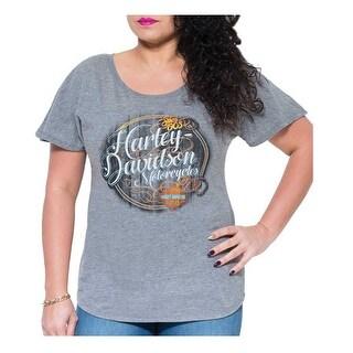 Harley-Davidson Women's Wood Lines Dolman Short Sleeve Tee, Premium Heather Gray