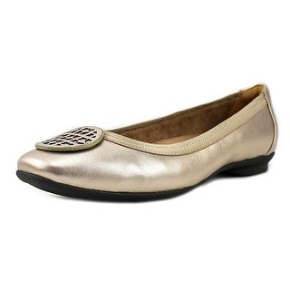 Clarks Narrative Candra Blush Women WW Round Toe Leather Gold Flats