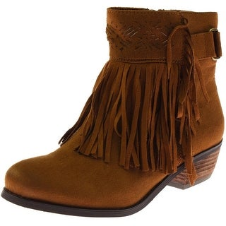 Not Rated Womens Captain Country Suede Fringe Ankle Boots