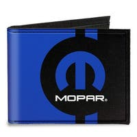Mopar Logo Stripe2 Black Blue Canvas Bi Fold Wallet One Size - One Size Fits most