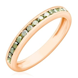 Brand New 0.51Ct Channel Set Round Brilliant Cut Green Diamond Half Eternity Anniversary Ring