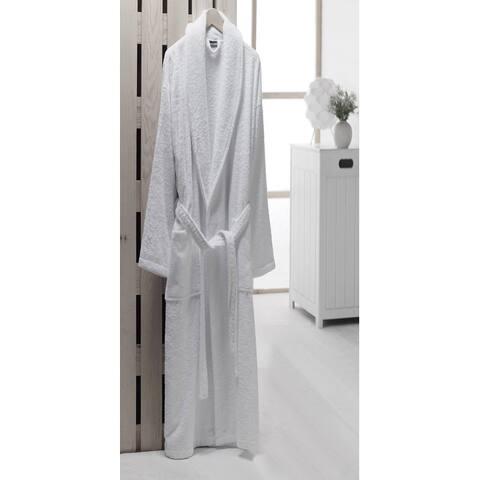 Luxury White Turkish Cotton Towel Terry Shawl Collar Bathrobe for Women and Men
