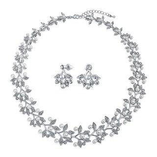 Vintage Bridal Leaf Statement Necklace Earrings Imitation Pearl Set