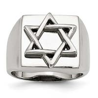 Stainless Steel Star of David Ring (15 mm)