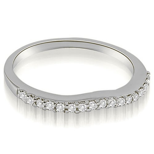 0.13 cttw. 14K White Gold Curved Round Cut Diamond Wedding Band