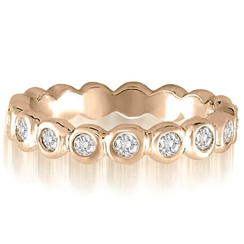 0.65 cttw. 14K Rose Gold Round Cut Bezel Set Diamond Eternity Ring