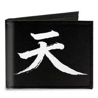 Akuma Symbol Black White + Street Fighter Assassin's Fist Canvas Bi Fold Canvas Bi-Fold Wallet One Size - One Size Fits most