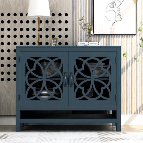 Merax Wood Accent Buffet Console Table with Storage Cabinet and Adjustable Shelf