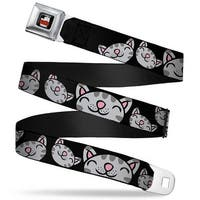 The Big Bang Theory Full Color Black White Red Multi Soft Kitty Face Black Seatbelt Belt