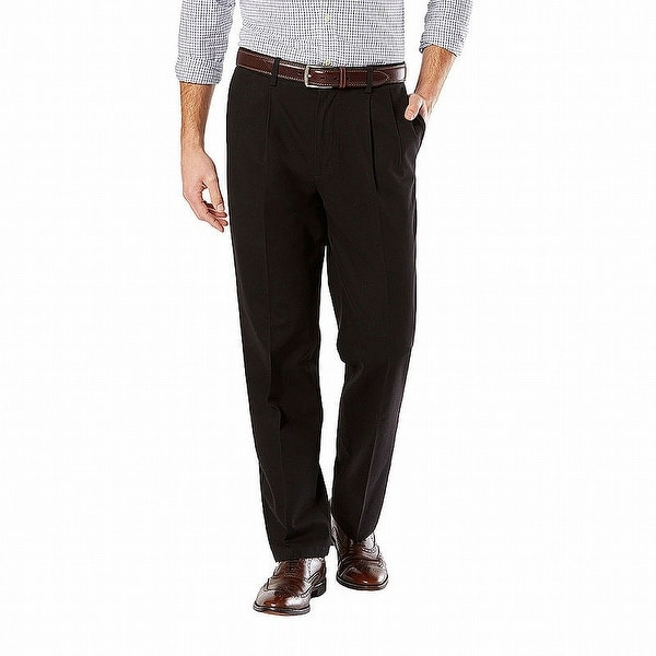 Dockers Mens Pants Solid Black Size 38x31 Pleated Khakis Classic Stretch. Opens flyout.