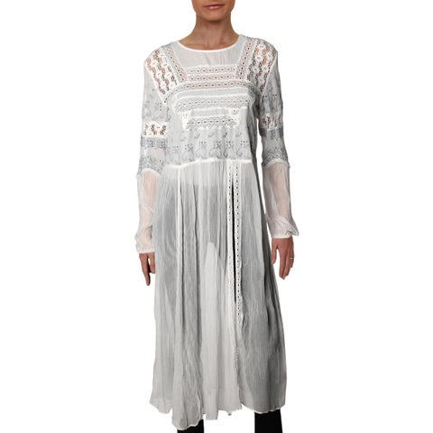 Free People Womens Tunic Top Lace Embroidered