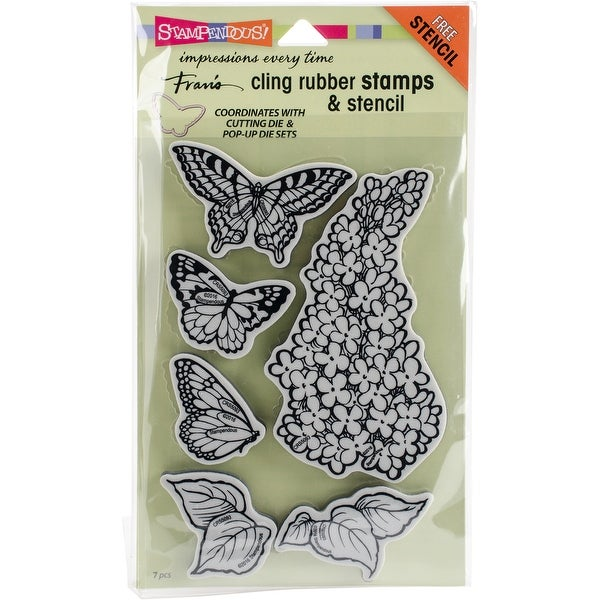 """Stampendous Cling Stamps & Stencil 5""""X7""""-Lilac"""