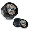 Blue Sugar Skull Black Acrylic Stash Screw Fit Plug (Sold Individually) - Thumbnail 0