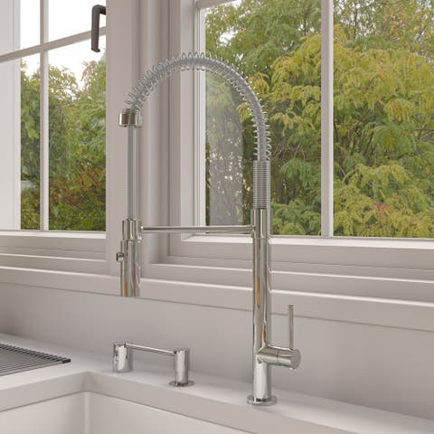Polished Chrome Commercial Spring Kitchen Faucet