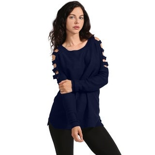 NE PEOPLE Women's Ladder Cold Shoulder Long Sleeve Tops [NEWT158]
