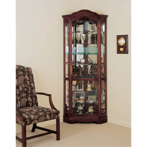 Howard Miller Jamestown Contemporary, Elegant, Cherry Finished Wood, Tall, 5-Shelf Living Room Corner Curio Cabinet Shaped Crown