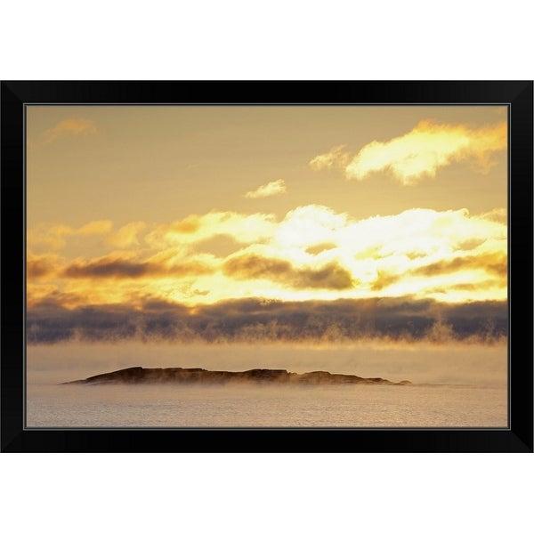 """winter mist on lake superior at sunrise"" Black Framed Print"