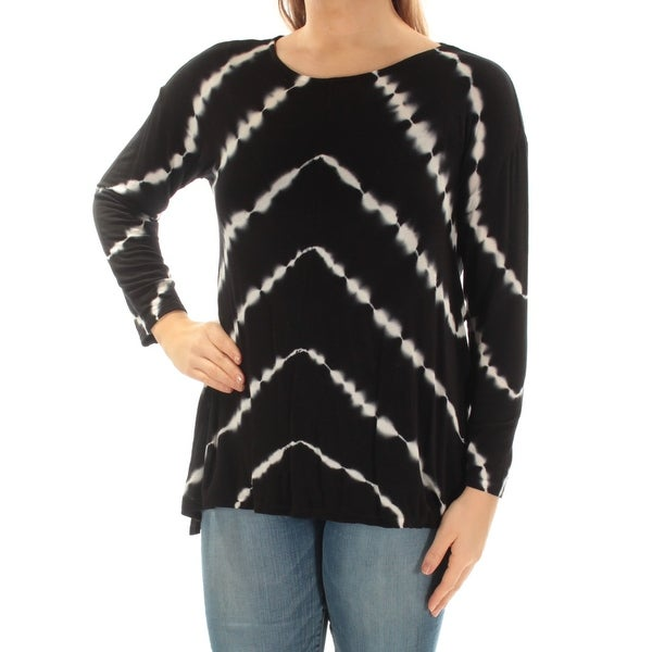 c77a3c0dcd3 Shop INC Womens Black Tie Dye Long Sleeve Jewel Neck Top Size  M - Free  Shipping On Orders Over  45 - Overstock.com - 22640076