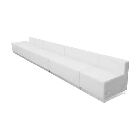 Offex 6 Piece Contemporary Melrose White Leather Reception Configuration [OFX-274326-FF]
