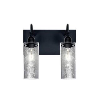 Besa Lighting 2WG-DUKESF Duke 2 Light Vanity Strip with Handcrafted Glass and Si