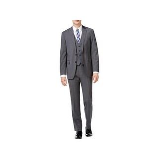 Calvin Klein Mens Two-Button Suit Wool Glen Plaid