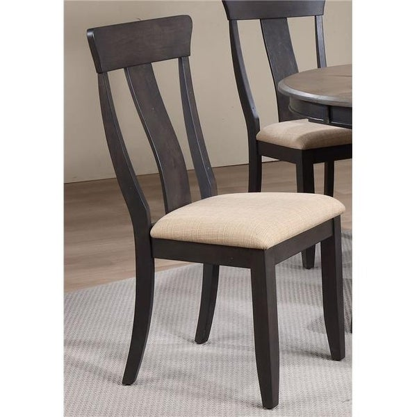 Panel Back Dining Chair Upholstered Seat Black Stone