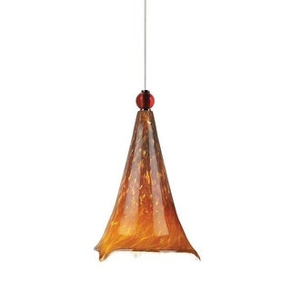 Tech Lighting 700MOMOVAR MonoRail Mini Ovation Tahoe Pine Amber Hand Pulled Glass Pendant with Red Glass Ball Detail - 12v