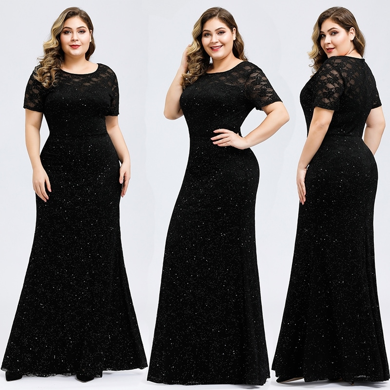 Ever-Pretty Womens Black Floral Lace Plus Size Mother of the Bride Evening  Dresses 00836