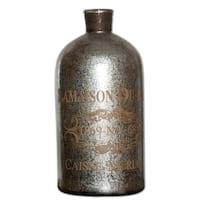 """18"""" Antiqued """"Lamaison Du Rot"""" Silver & Brown Decorative Mercury Glass Bottle"""