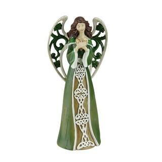 """7.5"""" Green and White Distressed Irish Angel with Shamrock Wings Holding a Heart"""