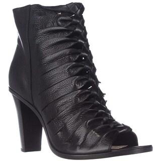 FRYE Sofia Braided Peep-Toe Gladiator Booties - Black