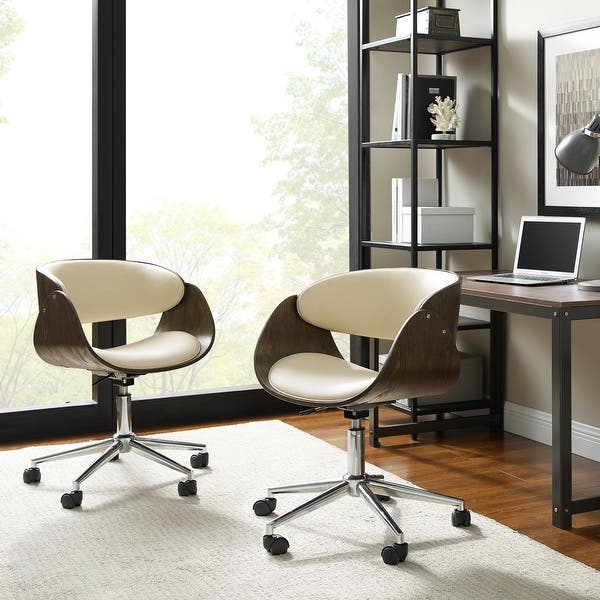 Shop Corvus Mid Century Wood And Metal Adjustable Office Chair Overstock 20882611 Black