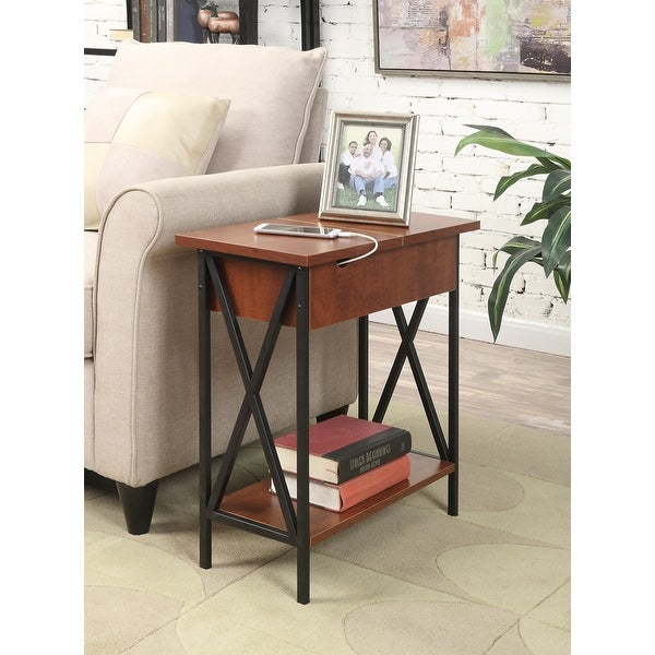 Carbon Loft Ehrlich Flip-top End Table with Charging Station. Opens flyout.