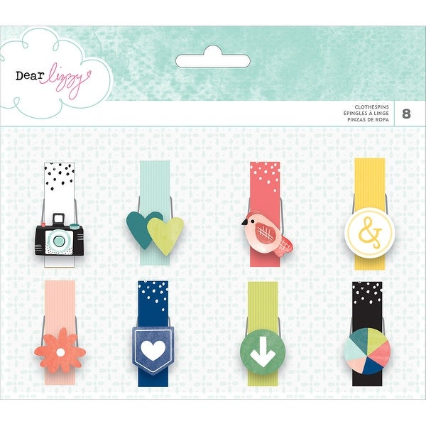 Dear Lizzy Saturday Icon Clothespins 8/Pkg-Icons