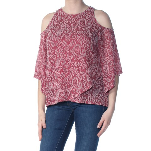 LUCKY BRAND Womens Maroon Cold Shoulder Paisley 3/4 Sleeve Jewel Neck Hi-Lo Wear To Work Top Size: M