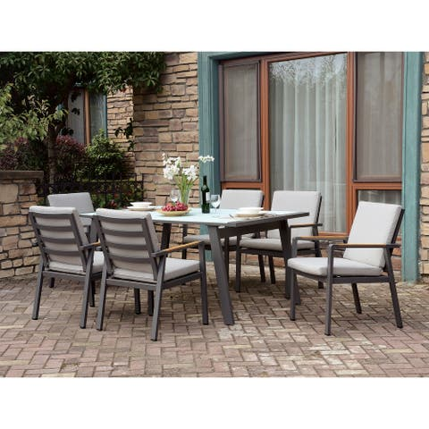 Furniture of America Lais Transitional Beige 7-piece Patio Dining Set