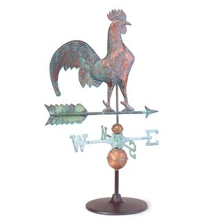 Weathervane Verdigris Copper Rooster on Garden Base