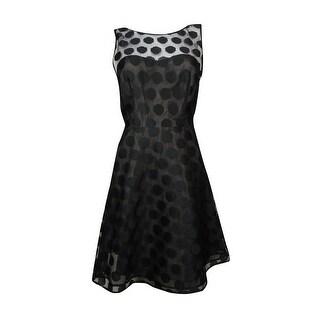 Betsey Johnson Women's Illusion V-Back Polka Dot A-Line Dress - Navy