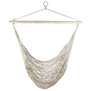 """35.5"""" x 44"""" Tan Cotton Netting Hammock Chair with Wooden Bar - White"""