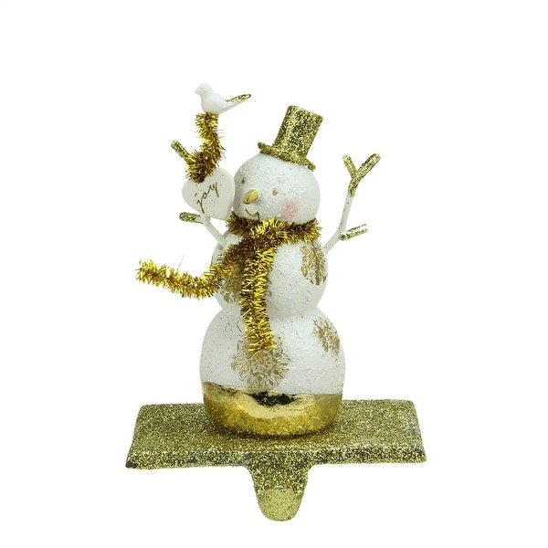 "6.25"" Gold Glitter Snowman with Snowflakes and Heart Christmas Stocking Holder"