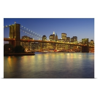 Poster Print entitled Brooklyn Bridge and New York City buildings at night