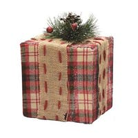"6.25"" Square Red, Brown and Green Plaid Gift Box with Pine Bow Table Top Christmas Decoration"