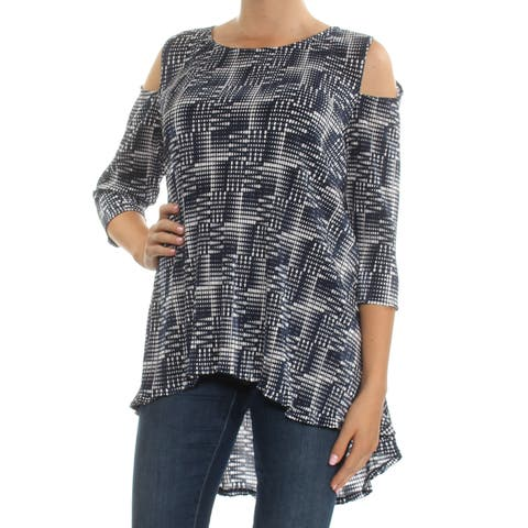 ALFANI Navy Cold Shoulder Geometric 3/4 Sleeve Jewel Neck Hi-Lo Top Size: M