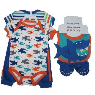 Buster Brown Baby Boys Blue Shark Print Pants Bib Booties Bodysuit Set 0-9M