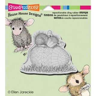 """Easter Egg Nap - Stampendous House Mouse Cling Rubber Stamp 4""""x3.5"""" Sheet"""