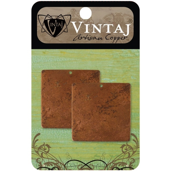 Vintaj Metal Altered Blanks-Large Squares 20.5mm 2/Pkg - Red